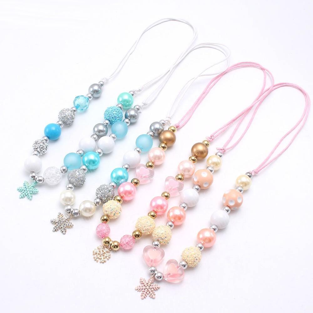 Очаровательная снежинка кулон ожерелье девушки синий / розовый коренастый бисером ожерелье младенца перлы жевательная ювелирных изделий веревку цепь