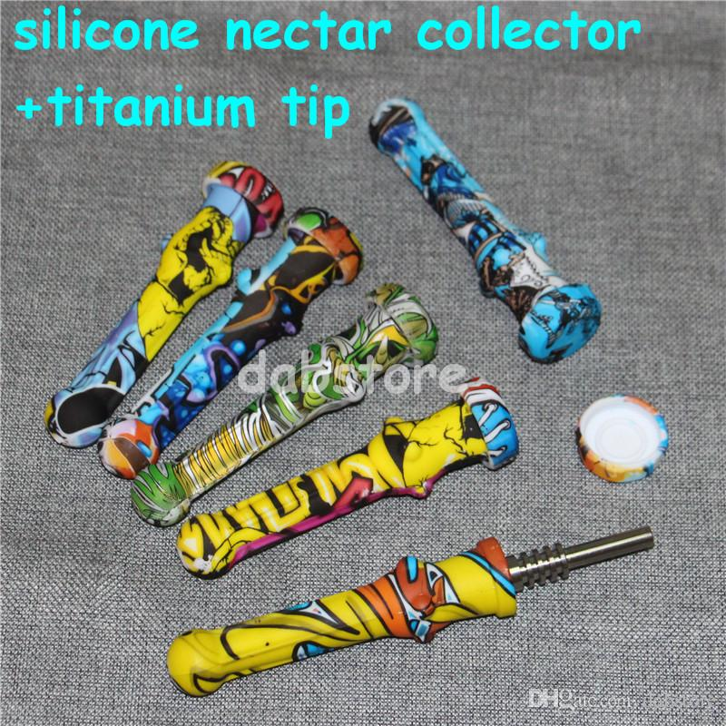 Silicone Nectar Collector Mini Water Pipes with GR2 Titanium Nail 14.5mm Concentrate Honey Dab Straw Silicone Pipe Vs twisty glass blunt DHL