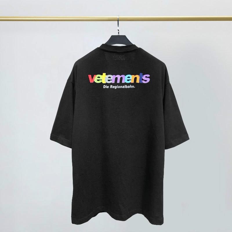 US 20SS Mens T-shirt Designer Vetements manches courtes VTM Vette Meng coloré logo imprimé ronde en vrac été décontracté cou haute qualité S-2XL