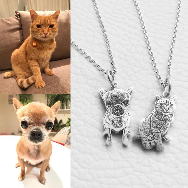Tag Nombre grabado 925 Perro de plata esterlina collar personalizado del gato de mascotas perro de la foto colgante de plata collar Mejor mujeres Memorial