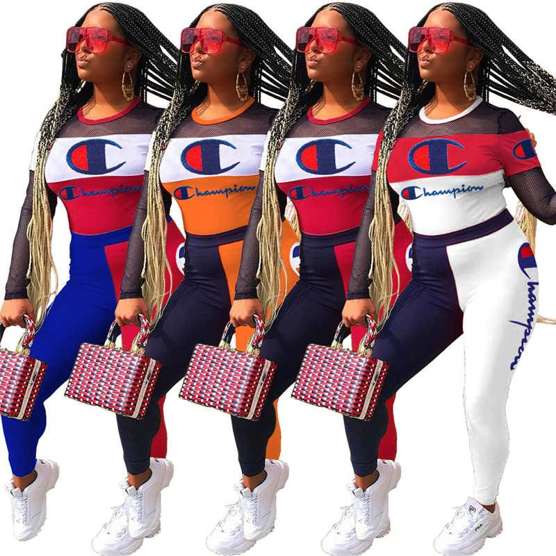 Champions Women Fall Winter Tracksuit 2 Piece Set Hoodies+Pants S-3XL Sports Suit Pullover+Leggings Sheer Outfits Letter Sweatsuit 1095