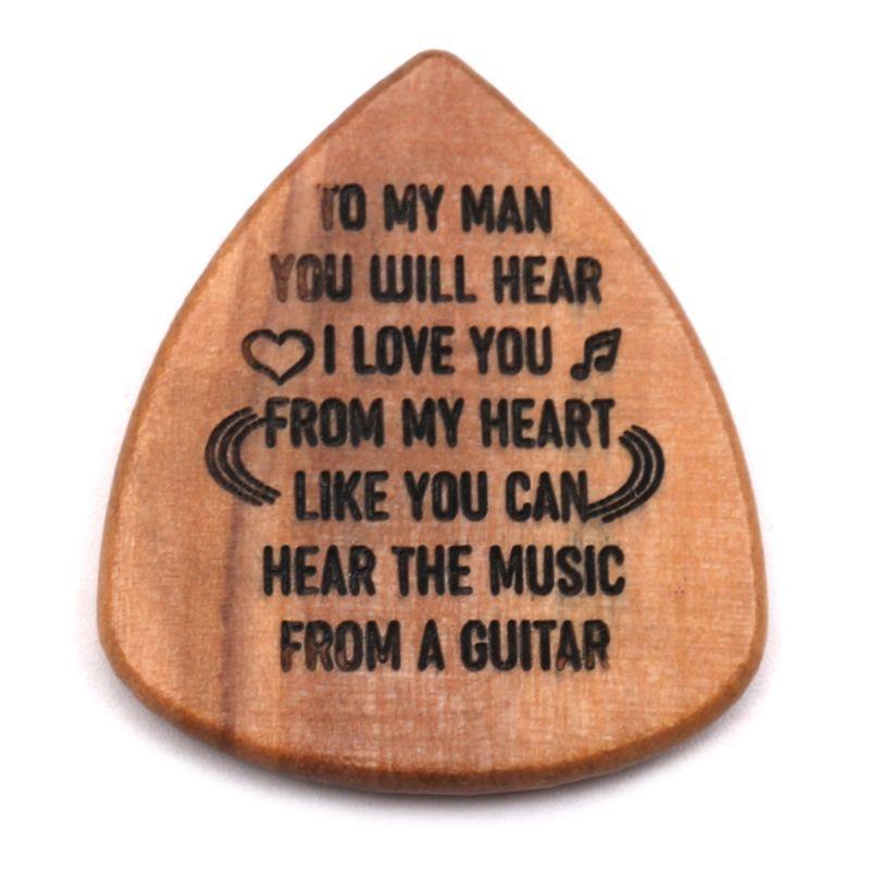 Wood Guitar Picks Personalized Lettering Plectrum Pick DIY Gift for Guitar Bass