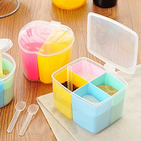 Dividido tarro de la especia caja de la cocina condimento accesorios de cocina Jar Jar Sal Condimento Creative Box azúcar de plástico