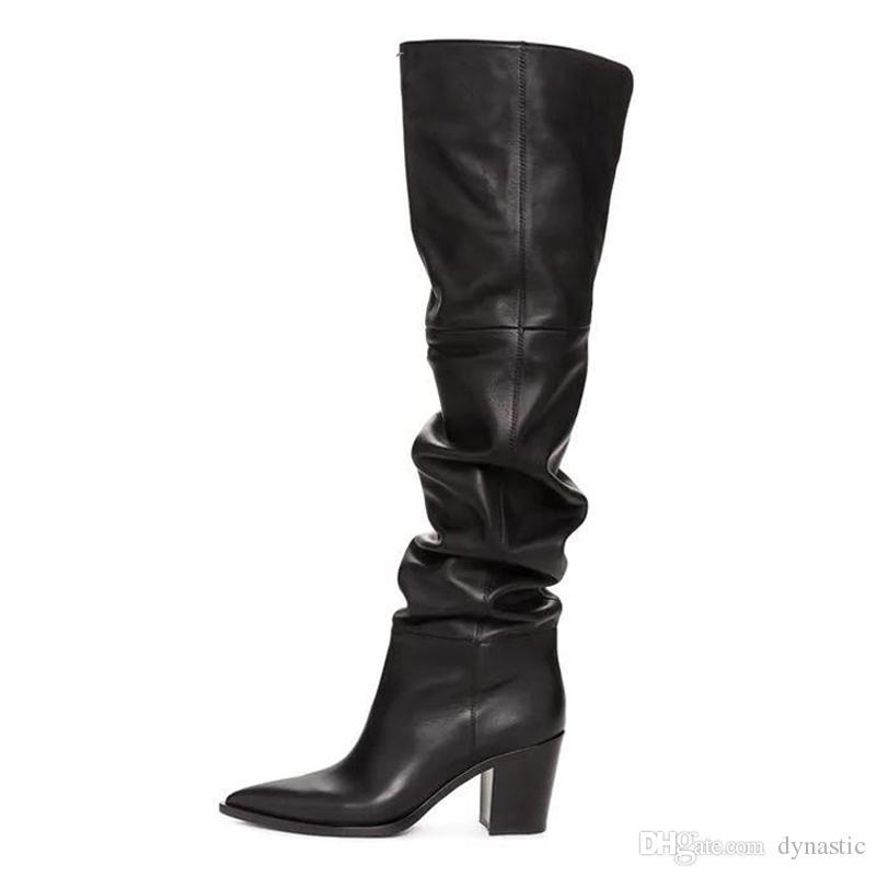 Зима над коленом сапоги женщины натуральная натуральная кожа толстый высокий каблук бедра высокие сапоги плиссированные длинные туфли
