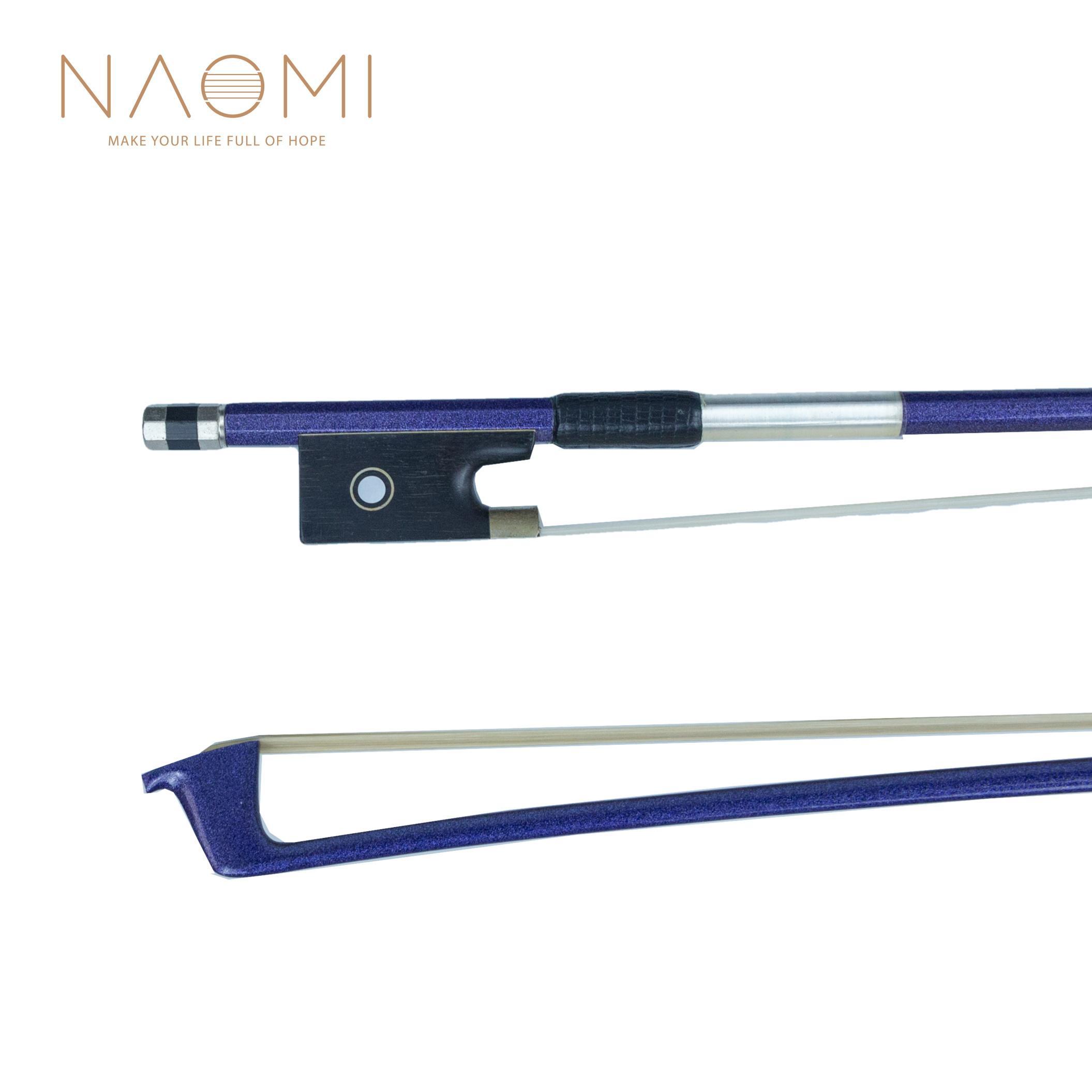 NAOMI 4/4 카본 파이버 바이올린 보우 4/4 바이올린 웰 밸런스 말 헤어 바이올린 보우 악세서리 - 블루
