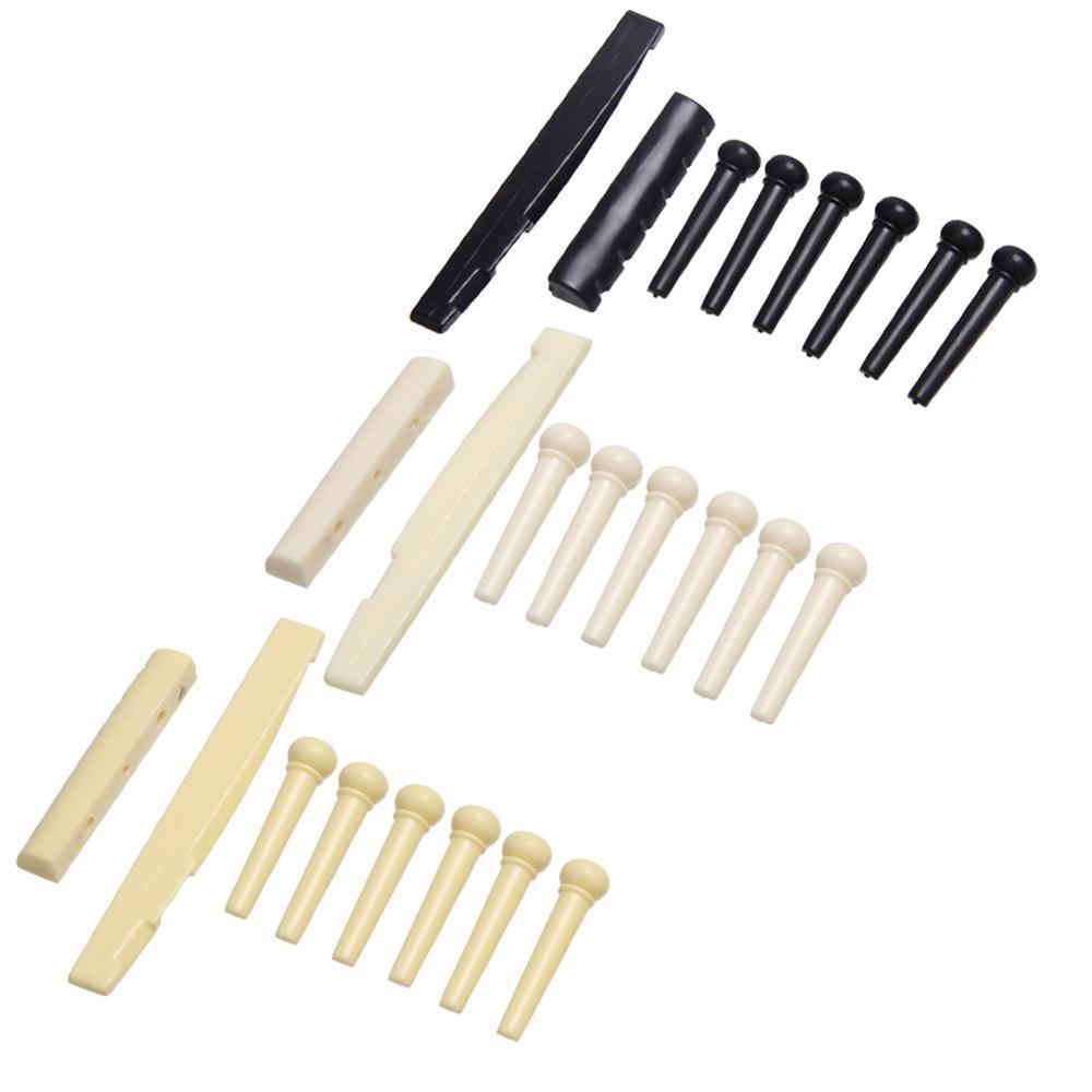1Set 6 Schnur-Gitarre Knochen-Gitarren-Brücke Pins Sattel Nuss Elfenbein Akustikgitarre Brücke Pin Cattle lp Tailpiece Tremolo 3 Farbe