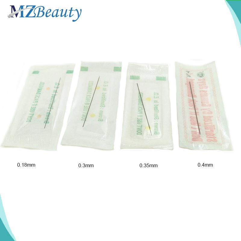 Barato tatuaje 100pcs disponibles esterilizadas tatuaje agujas profesionales 1RL 0,18 0,3 0,35 0,4 mm maquillaje permanente maquillaje agulha