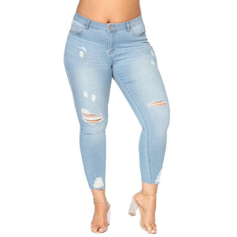 Shujin Женские джинсы с высокой талией 2018 Сексуальные полые эластичные джинсовые брюки Женщина Разорванные узкие светло-голубые джинсы мамы Плюс размер 7xl J190425