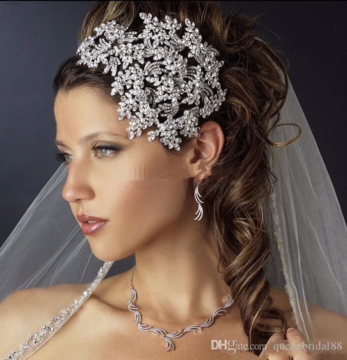 Newest 2019 Wedding Bridal Crystal Rhinestone Silver Queen Headbands Tiara Headpiece Princess Hair Accessories Pageant Prom Jewelry Party