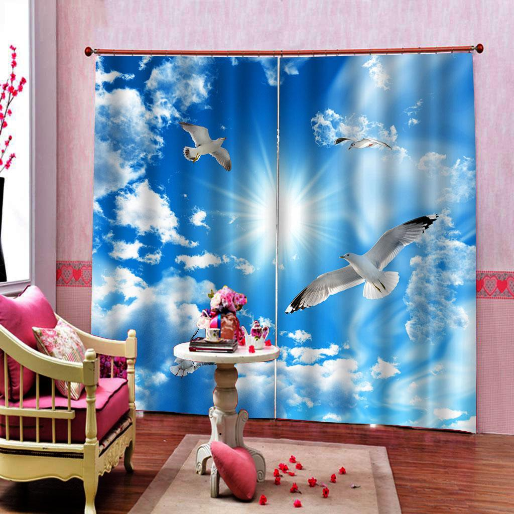 Customized size white cloud sky Seagull curtain 3D Curtains Living Room Bedroom Blackout Drapes Cortinas Sets (left and right side)