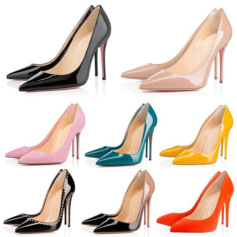 red bottoms high heels الأزياء الفاخرة مصمم أحذية نسائية أحمر أسفل أحذية عالية الكعب جلد الغزال السيدات وأشار أصابع مضخات والاحذية
