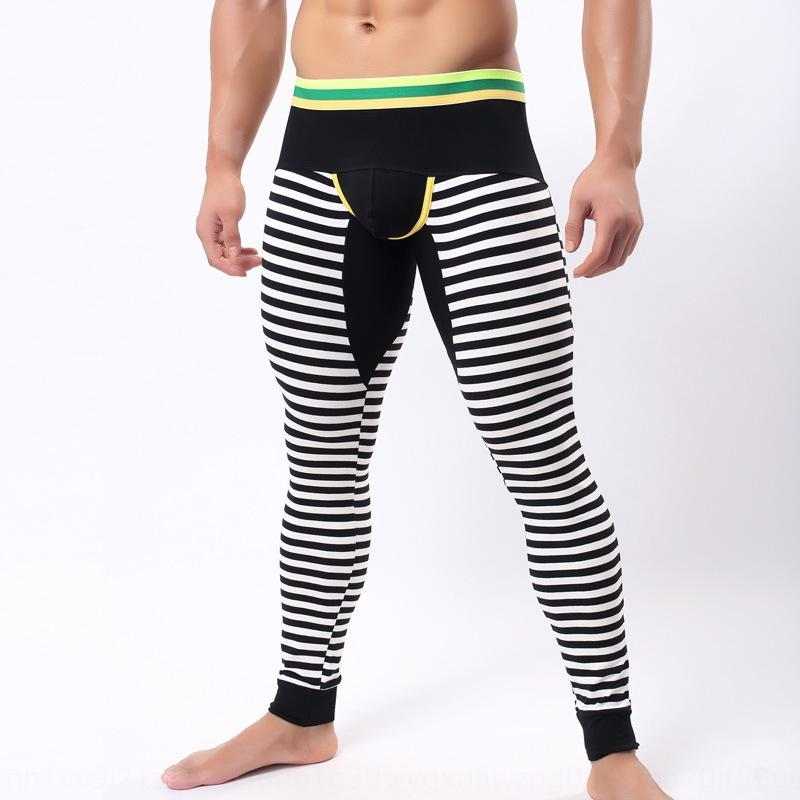 Jiang Men's cotton long johns Warm trousers Tight pants trousers warm leggings color matching striped cotton long johns men
