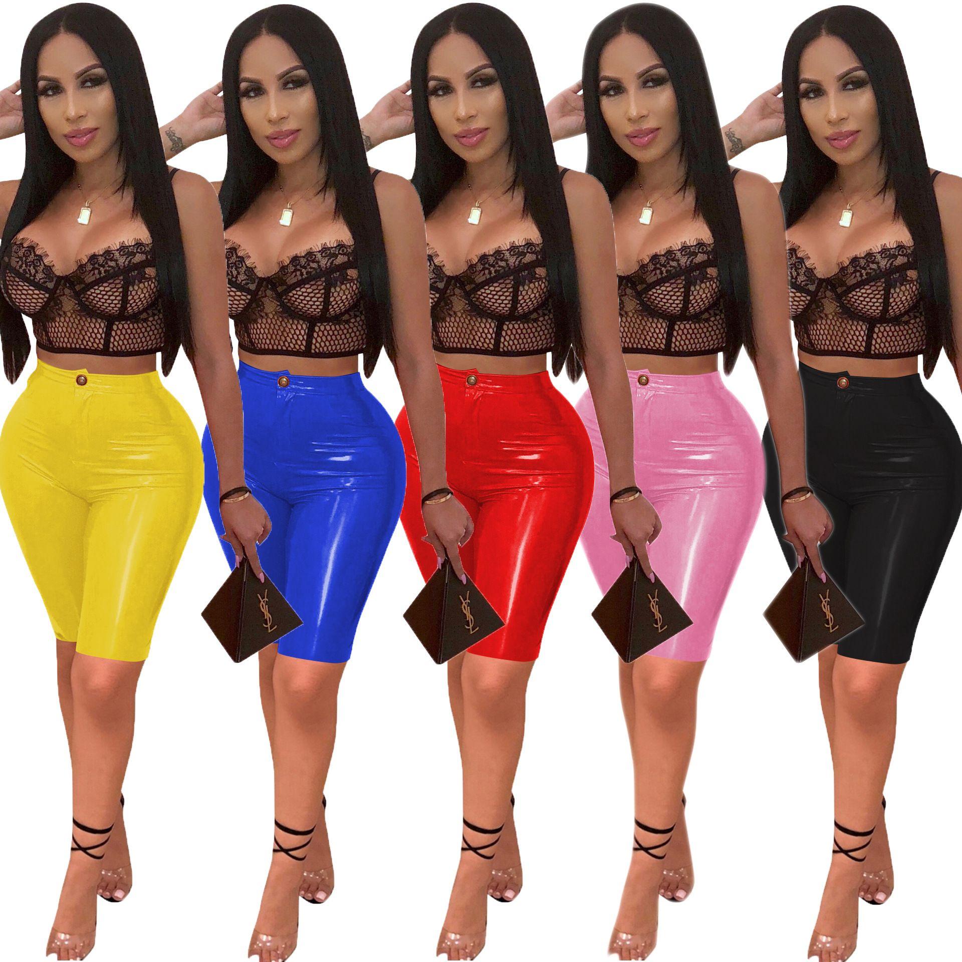 Women Sexy Charming Bright PU Pants Faux Leather Skinny Shorts lady Fashion Button Zipper Slim Knee Length 1/2 Capris Short Trousers
