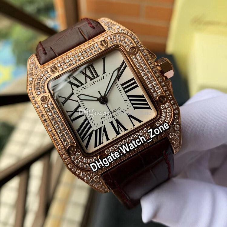 New Steel Case WM502051 Miyota 8215 Automatic Mens Watch White Dial Rose Gold Diamond Case Sapphire Brown Leather Strap Watches Watch_Zone