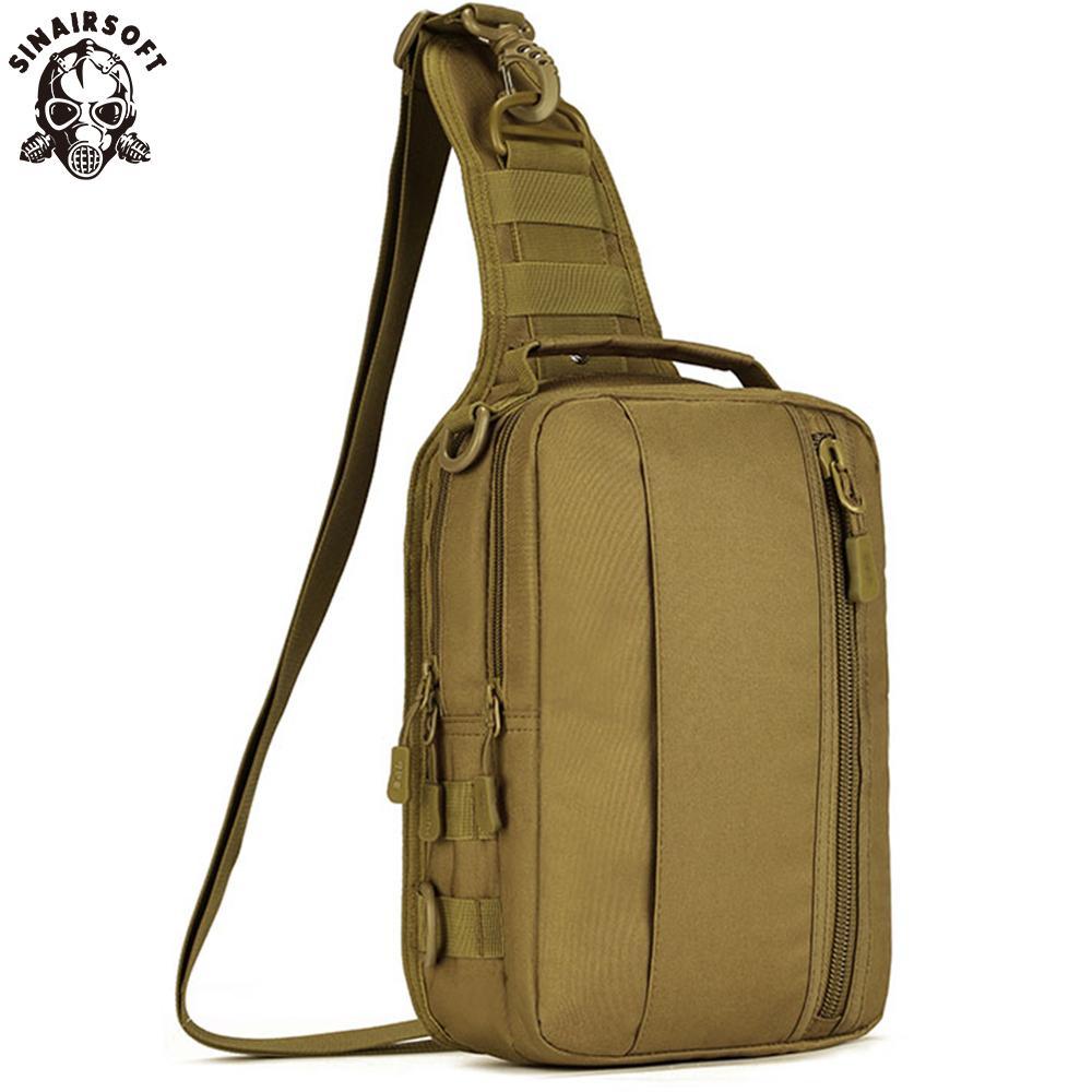 Sinairsoft táctico militar mochila Molle Crossbody de nylon 10 pulgadas de la tableta mochilas de caza que acampa de la pesca deportiva del bolso de mano