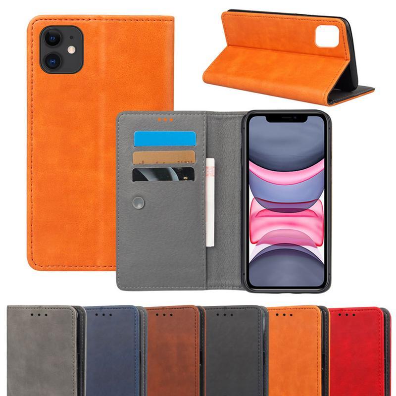 Nouveau luxe PU Flip téléphone en cuir pour iPhone 11 x pro xr xs max 8 7 6 plus portefeuille couverture de carte de crédit pour Samsung S9 S10 PLUS NOTE 9 10