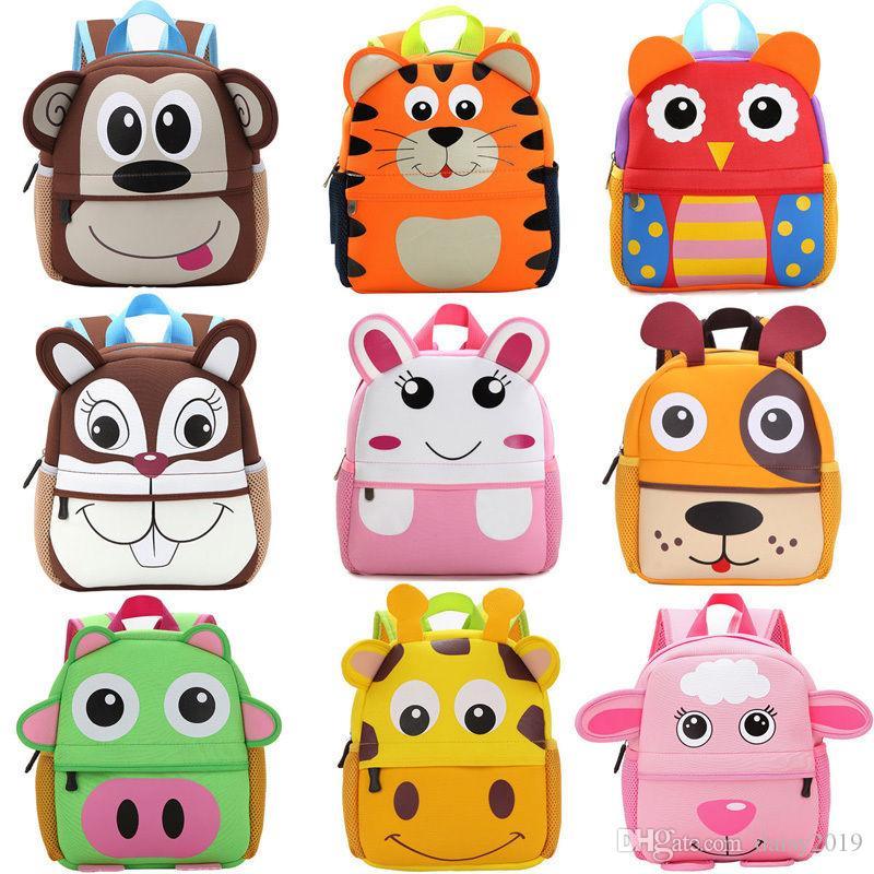 Nuevo bolso de escuela del niño del cabrito lindo bolsa Mochila de escolar del jardín de infancia bolsa de hombro animal de la historieta 3D