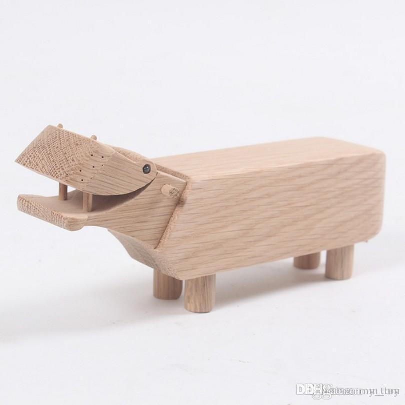 Natural Wooden Hippo Kids Doll Toys Figurines Teak Wood Creative Office Business Present Animal Statues Models Home Decor Arts and Crafts