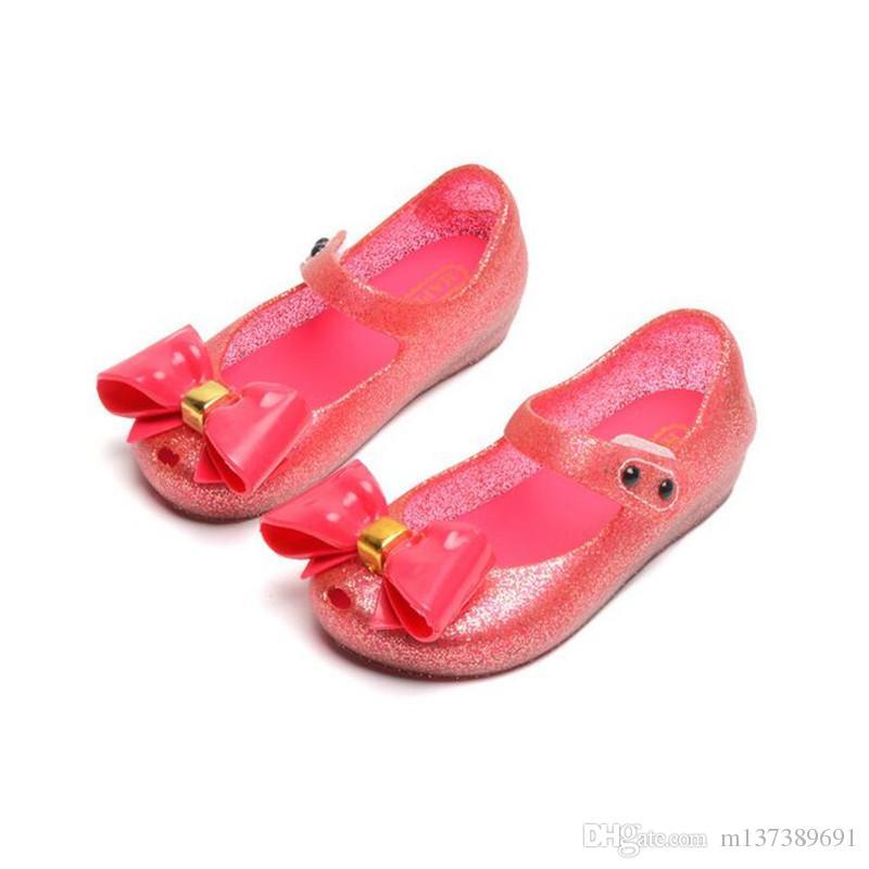 Scarpe nuova ragazza Sandali Bowknot Principessa gelatina Scarpe ragazza antiscivolo Toddler bambini sandali della spiaggia della ragazza Mini Melissa Dimensione 6-1