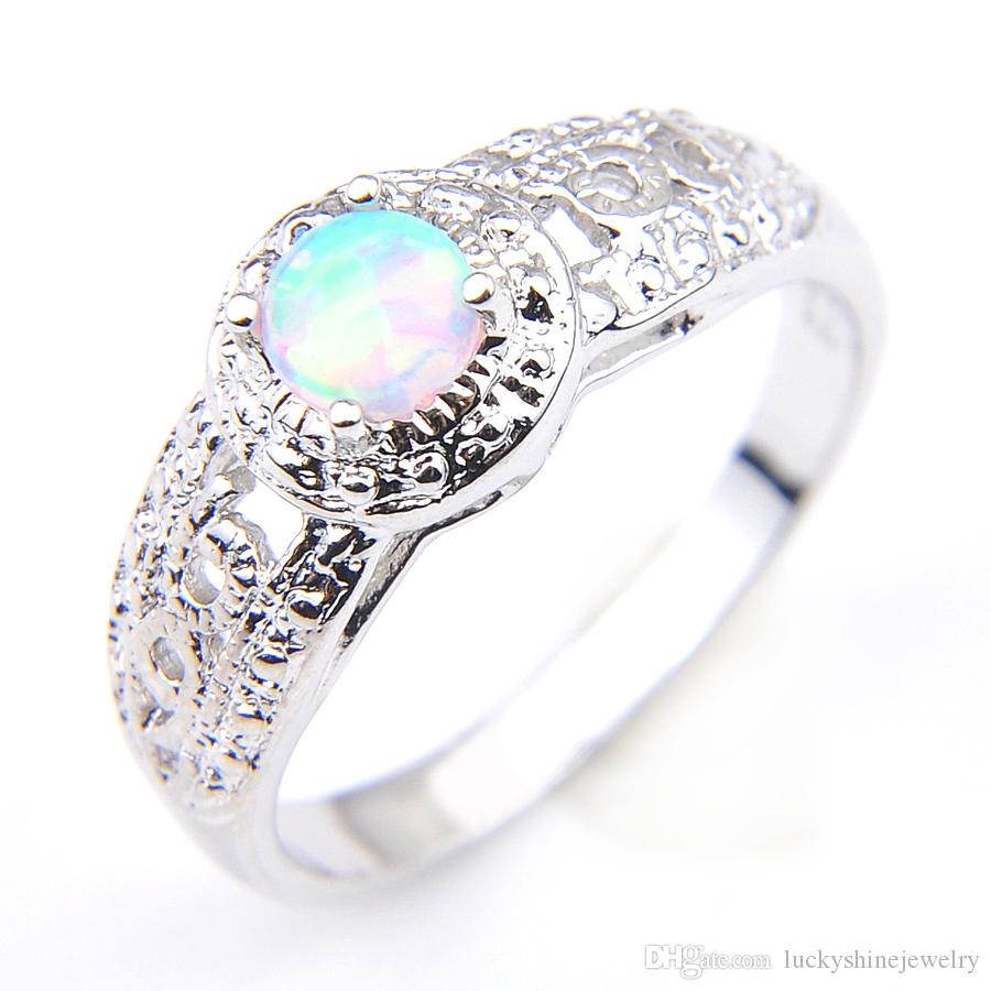 Luckyshine NEW Best Seller 10 Pcs/Lot White Opal Gems 925 Silver Woman Engagement Ring Jewelry Size 7-8