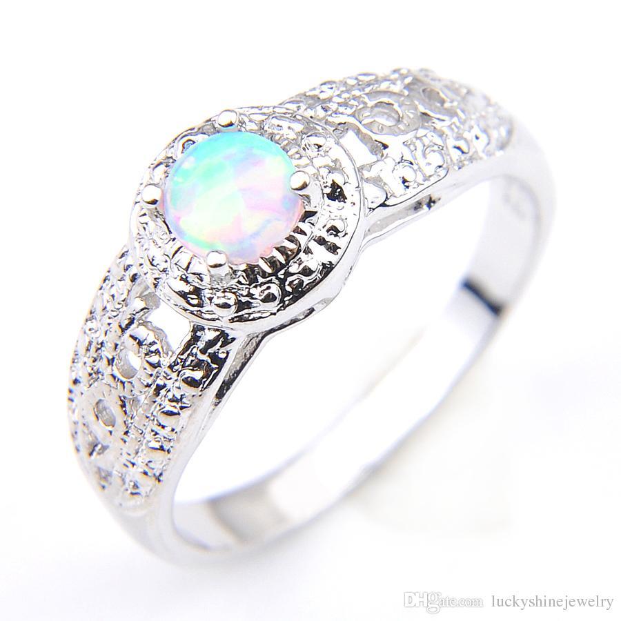 Luckyshine nuevo mejor vendedor 10 unids/lote blanco Opal gemas 925 plata mujer anillo de compromiso joyería tamaño 7-8