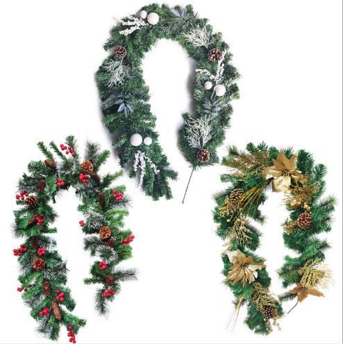 الأوراق الخضراء الاصطناعية إكليل شجرة عيد الميلاد زخرفة الباب الأمامي زهرة إكليل قذيفة العشب البقس لباب جدار نافذة الحزب