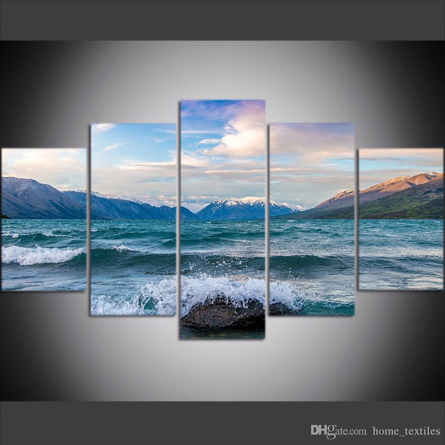 5 pièce grande taille mur de toile Art Photos Creative Lac Glacier, bassin de l'île du Sud, Nouvelle Zélande Art Print peinture à l'huile pour le salon