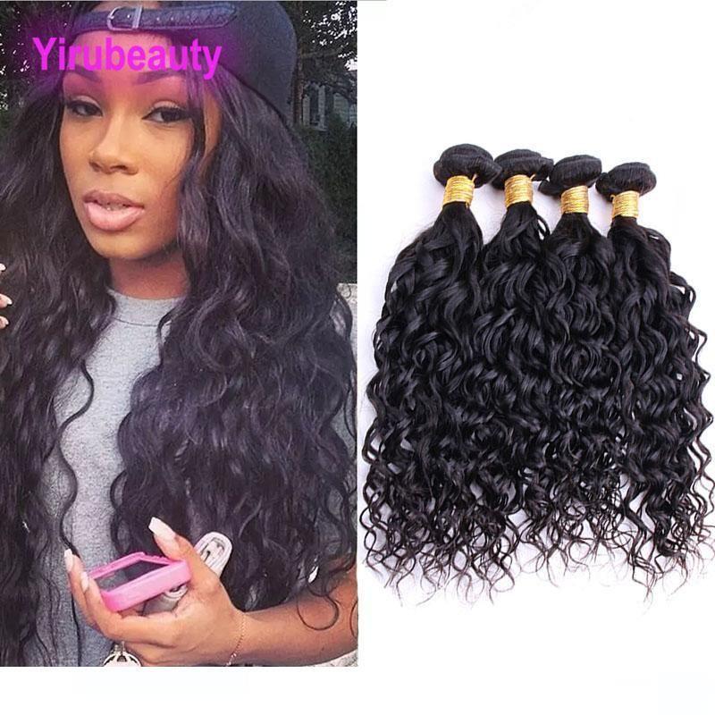 Une couleur brésilienne vierge de cheveux humains 4 Bundles Vague Extensions cheveux et humide naturelle 8 -28inch onduleux Double Trames Cheveux