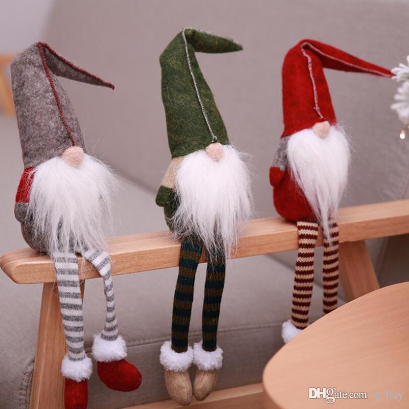 Рождество Мило Сидящий Длинноногая Нет Лицо Санта-Клаус куклы Скандинавский Gnome Плюшевые Рождественские украшения рабочего стола DIY Craft Детские подарки