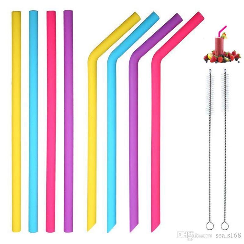 Pajitas de silicona reutilizables Pajas largas y flexibles con cepillos de limpieza para bar Comedor Vasos Vasos Tazas 10 unids / set HH7-1931