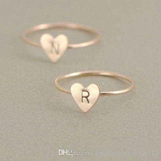 26 a-z inglês anel de letra inglês anel inicial de prata de ouro amor coração anéis mulheres moda jóias will and sandy