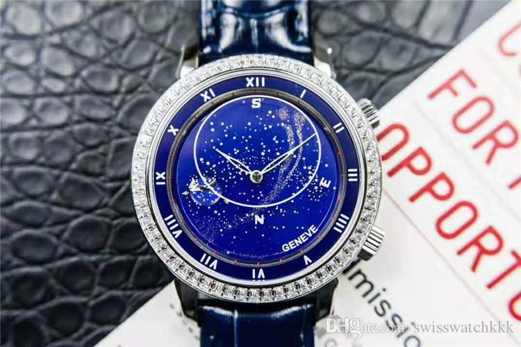Top Grand Complicazioni Sky Moon Celestial 5102G Orologio di lusso della vigilanza dell'acciaio inossidabile Diamond Blue Dial svizzeri 240LU meccanico