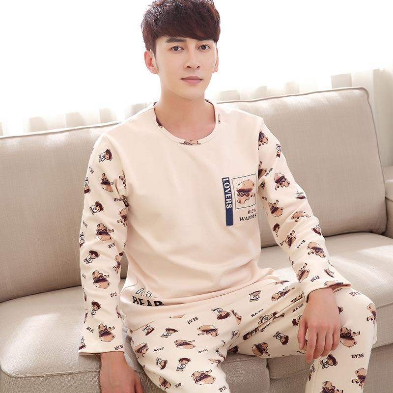 Y2YQK 2019 autumn and winter New couple pajamas cotton thin suit clothes home clothes home furnishing clothing men's