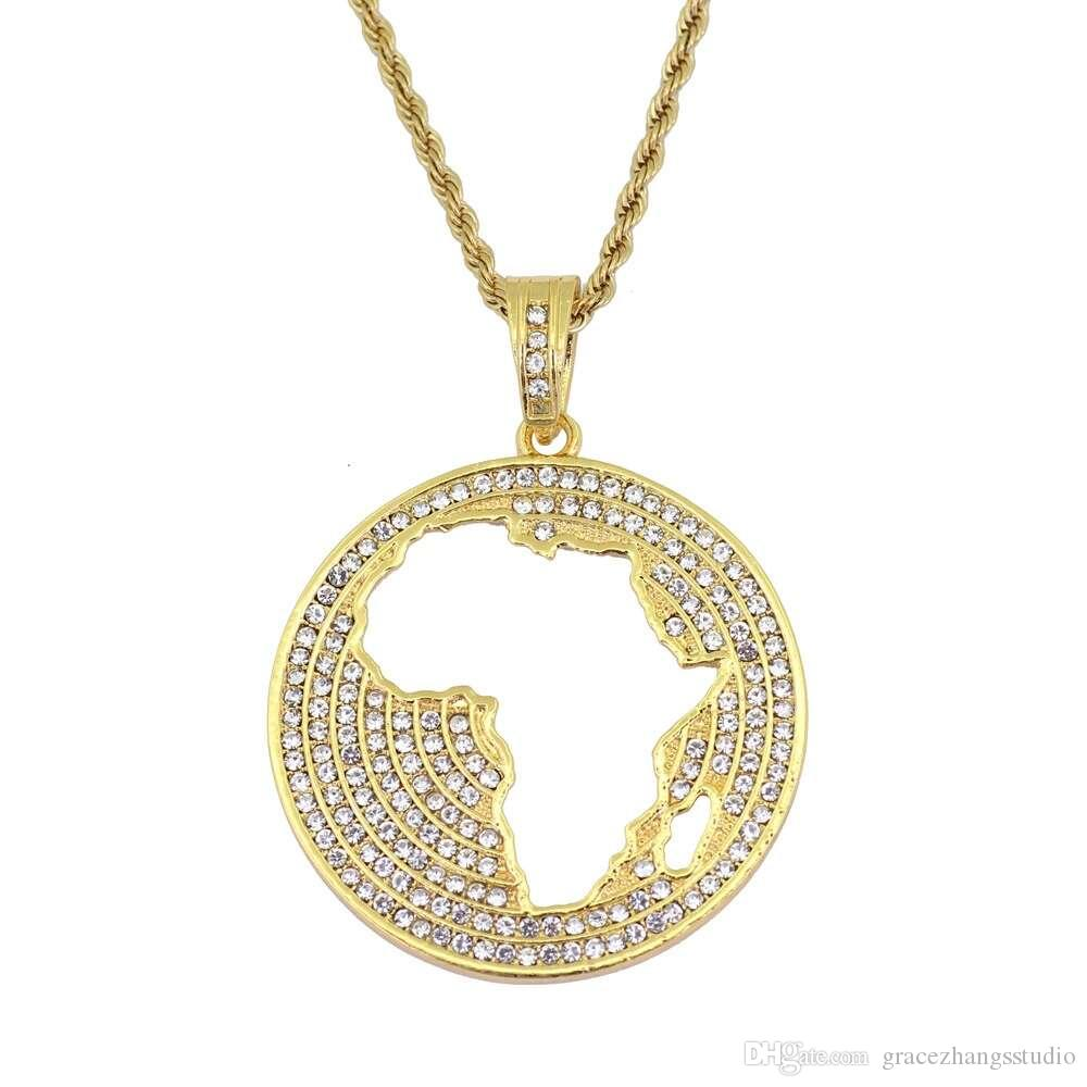 hip hop Map of Africa diamonds pendant necklaces for men alloy golden African luxury necklace Stainless steel Cuban chains dog tag jewelry