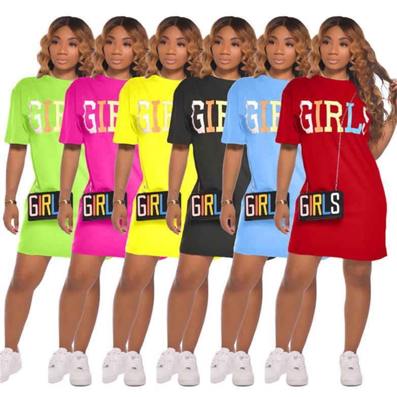 Les femmes robe d'été décontractée minirobe une seule pièce robe de soirée club party set mode impression lettre lâche robe o-cou klw4282