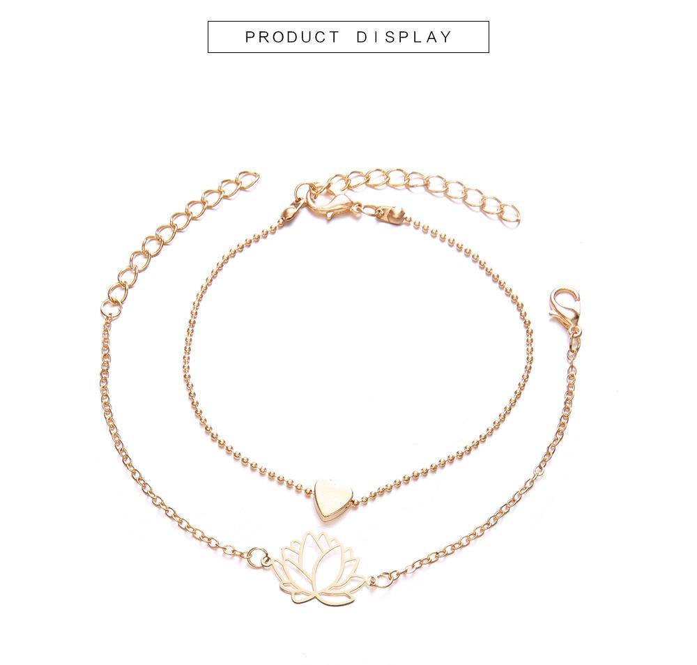 Liebe Armbänder Sets Schmuck Einfache Armband Weibliche Hohle Lotus Armband
