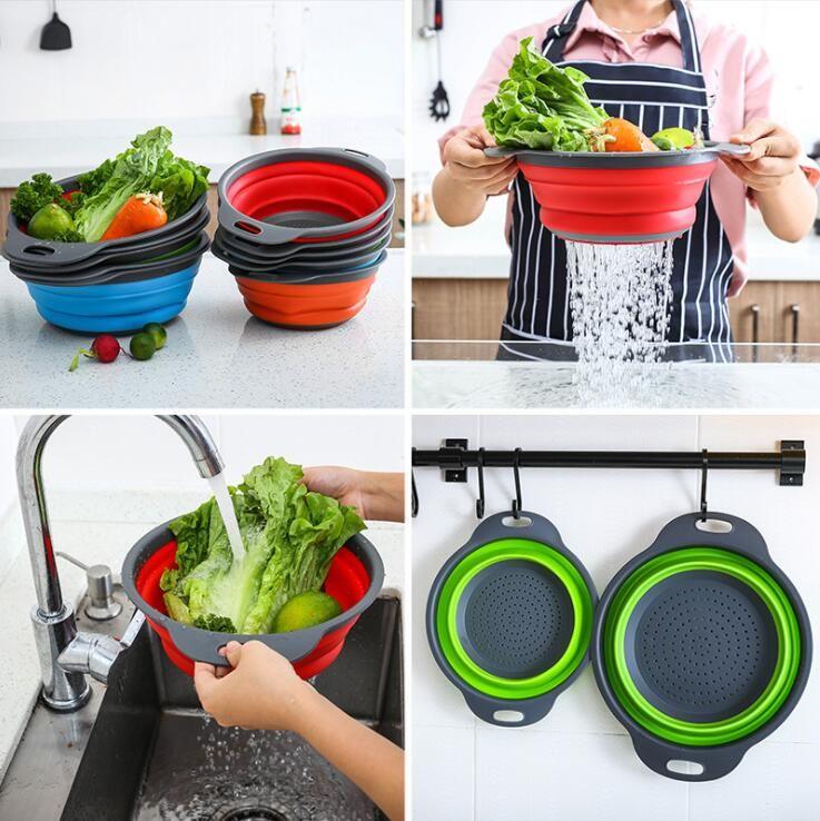 Fregadero de cocina creativa redonda plegable telescópica silicón de la fruta de la basura de escombros cestas de almacenamiento de drenaje cesta cesto de lavado LXL955Y