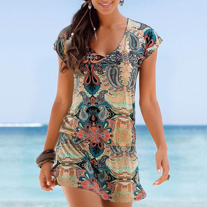 Fashion Womens Casual Sleeveless Retro Print Beach Mini Dress Beach Dress 135g#1809153010