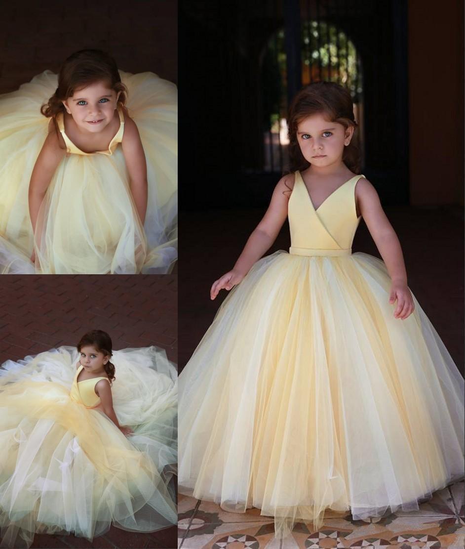 Vestidos Pageant última flor amarela bonito da menina do aniversário Vestidos vestido de baile Tulle crianças meninas formais