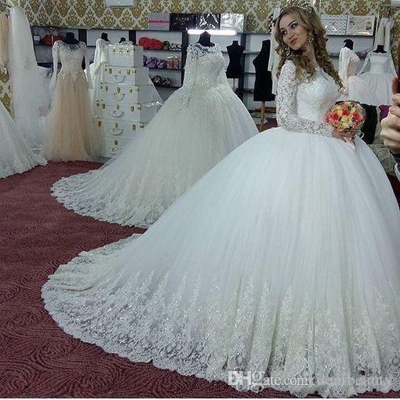 코르셋 돌아 가기 폐쇄 맞춤 제작 신부 드레스와 반짝이 아플리케 긴 소매 웨딩 드레스와 겸손한 볼 가운 웨딩 드레스