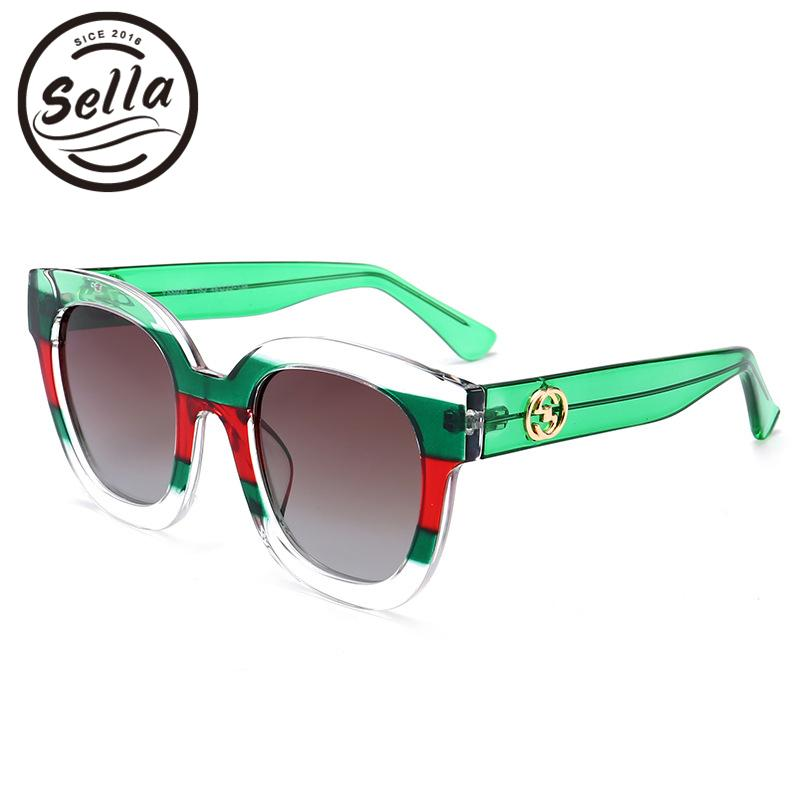Sella High Quality Fashion Hit Color Transparent Stipe Frame Polarized Sunglasses Brand Designer Popular Women Cateye Sun Glass C19041201