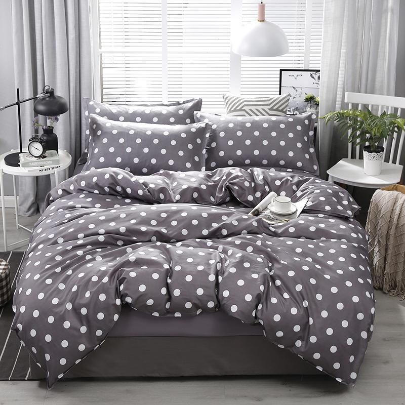 Chegada nova alta qualidade escuro Dot Grey Pattern Bedding Set Linings Bed Duvet Cover Folha de cama Fronhas Cover Set 4pcs / set