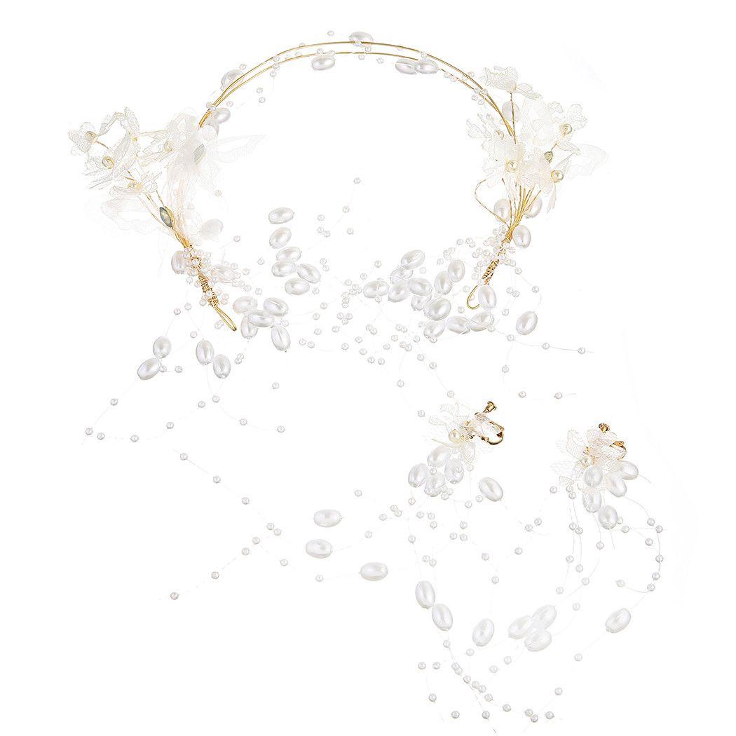 مجوهرات اكسسوارات الشعر مزاج البرية الفراشة اللؤلؤ غطاء الرأس القرط الزفاف