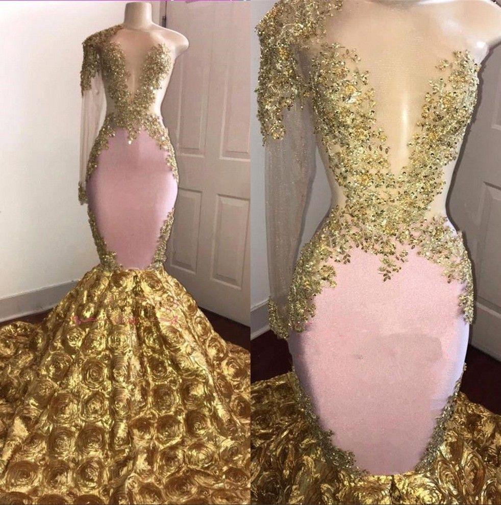 2019 Un hombro de encaje de sirena vestidos largos de baile de encaje de tul con cuentas 3D floral piso de longitud formal vestidos de noche del partido BC1386