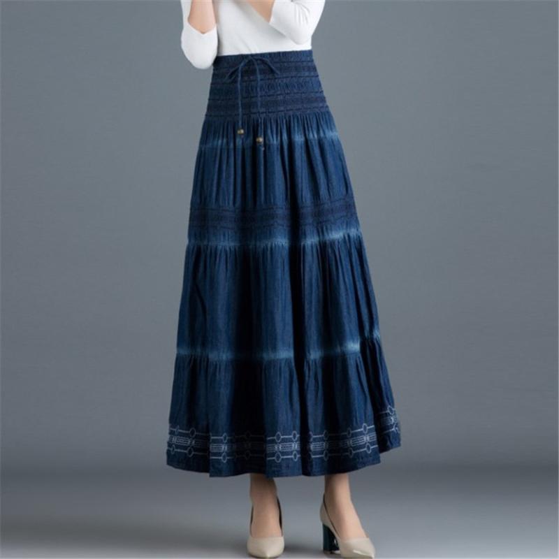 Falda maxi del verano de la vendimia del dril de algodón ocasional de la falda larga de las mujeres elásticos de la cintura una línea Todo-fósforo de los pantalones vaqueros flojos Ds50556