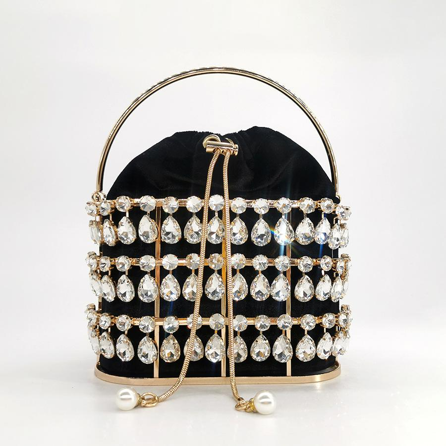 Designer-Big Rhinestone Pochette de soirée sac à main de haute qualité Femmes Mesdames métal Parti velours diamant bourse