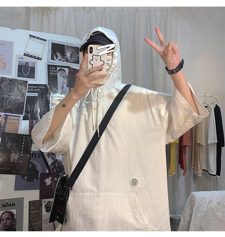 Mens Designer Tshirts Regular Length Half Sleeve Hooded Tees Solid Color Summer Mens Tops with Drawstring