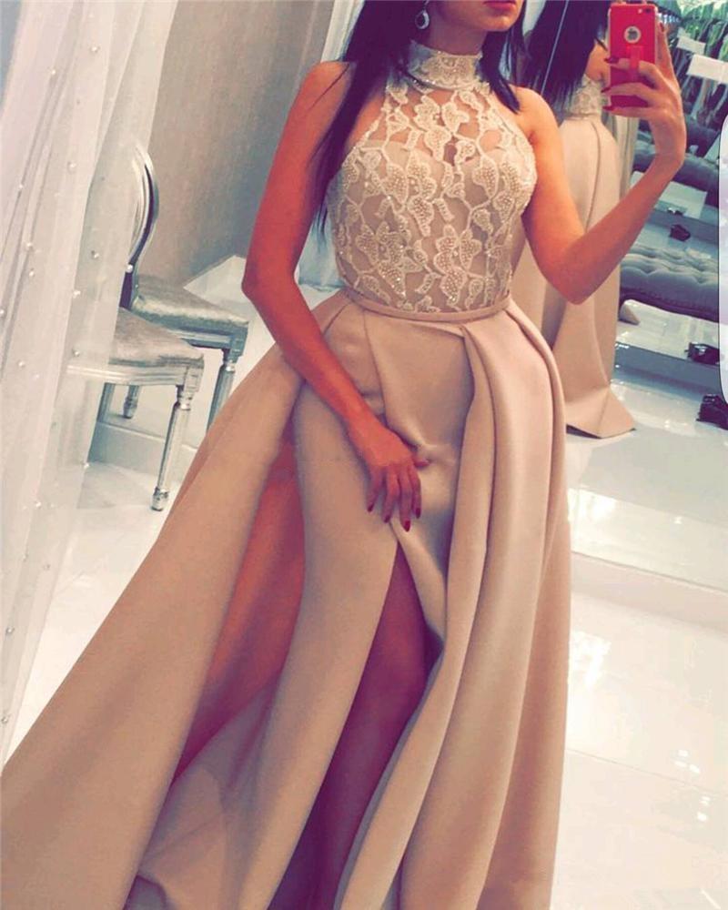 Yousef Aljasmi Mermaid lungo abiti da ballo Halter Vedere attraverso perline di pizzo High Slilts dubai overskirts arabo Evening Formal Gowns 2019