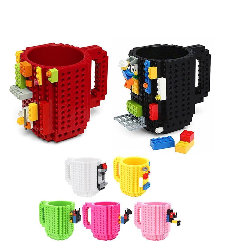 350ML DIY كتل البناء لعبة الحليب كؤوس القهوة الأقداح المدعم Legoings الإبداعية كيت تنوير للعب الأطفال هدايا عيد الميلاد