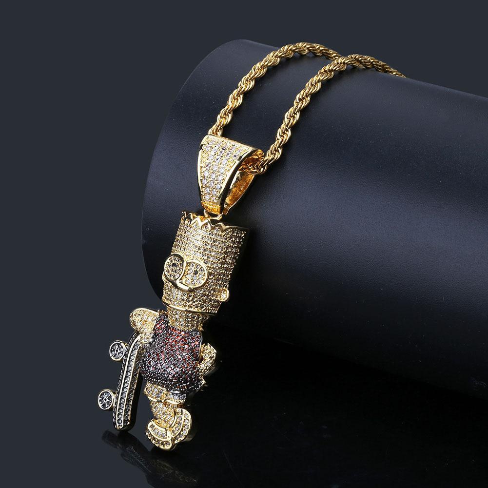 Collar de personaje de dibujos animados Simpson collar de 18 quilates chapado en oro de Bling del diamante simulado CZ Hip Hop Rapper Cadena Hombres Mujeres
